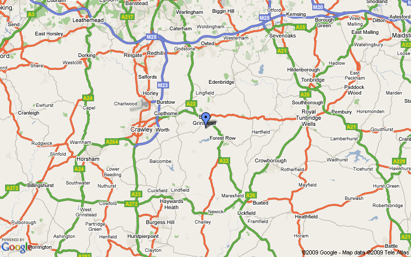 Regional map centred on East Grinstead